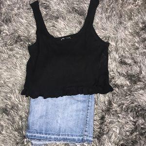 Zara women's tank top. Ribbed black in color. L